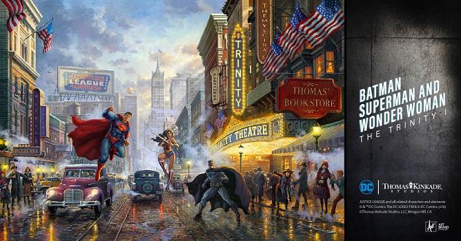 Thomas Kinkade Batman Superman Wonder Woman