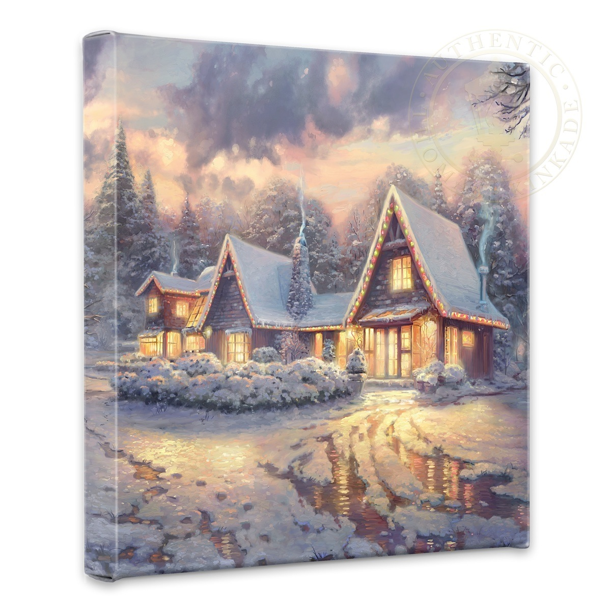 The Christmas Lodge.Christmas Lodge 14 X 14 Gallery Wrapped Canvas
