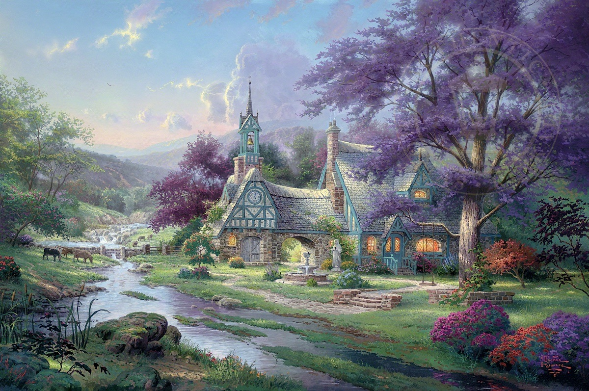clocktower cottage thomas kinkade galleries of new york new rh thomaskinkadehq com