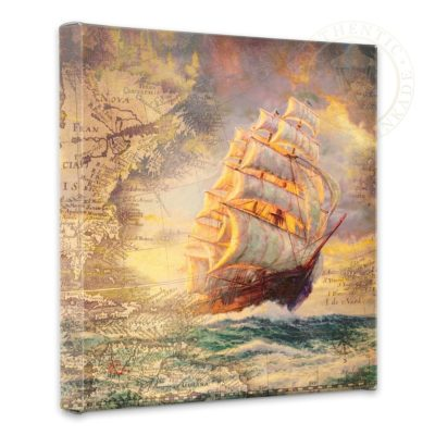 """Courageous Voyage Map Collage- 14"""" x 14"""" Gallery Wrapped Canvas"""
