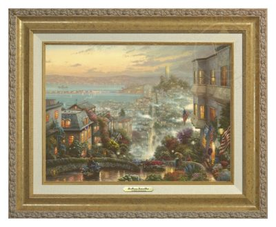 San Francisco, Lombard Street - Canvas Classic (Gold Frame)