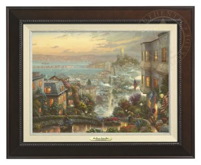 San Francisco, Lombard Street - Canvas Classic (Espresso Frame)