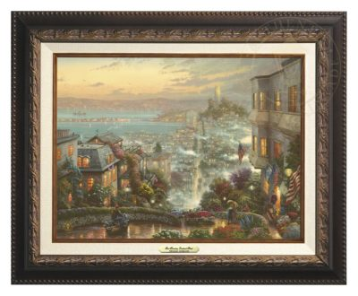San Francisco, Lombard Street - Canvas Classic (Aged Bronze Frame)