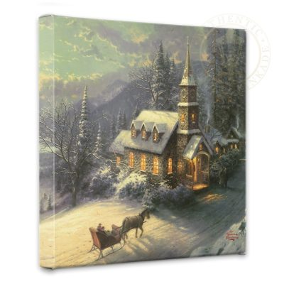 "Sunday Evening Sleigh Ride - 14"" x 14"" Gallery Wrapped Canvas"