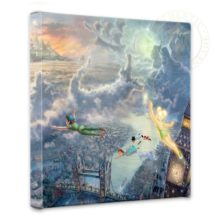"""Tinker Bell and Peter Pan Fly to Neverland - 14"""" x 14"""" Gallery Wrapped Canvas"""