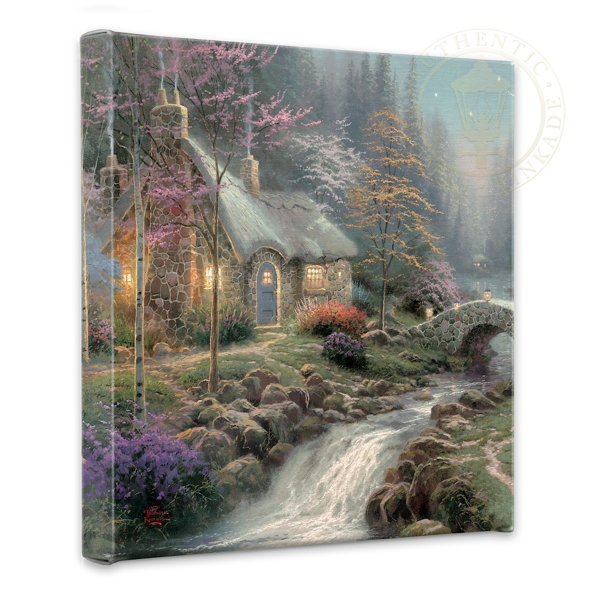 "Twilight Cottage - 14"" x 14"" Gallery Wrapped Canvas ..."