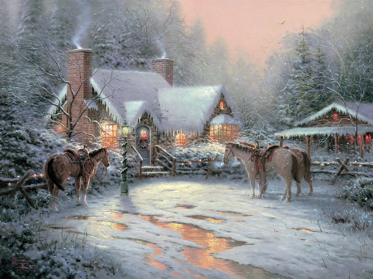 Thomas Kinkade Christmas.Christmas Welcome A