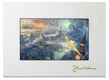 "Tinker Bell and Peter Pan Fly to Neverland - 9"" x 12"" Matted Print"