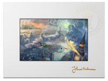 """Tinker Bell and Peter Pan Fly to Neverland - 9"""" x 12"""" Matted Print"""