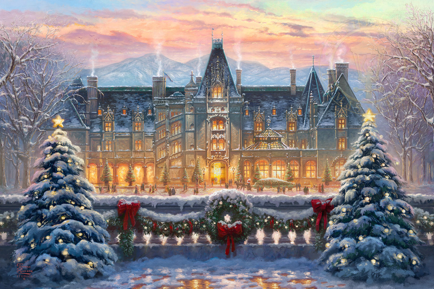 Christmas house with snow art - Christmas At Biltmore Limited Edition Art