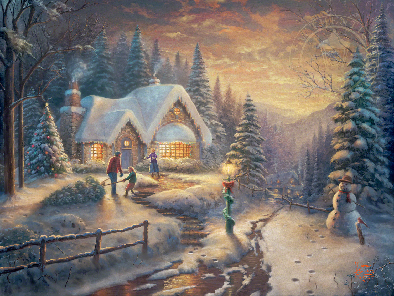 Thomas Kinkade Christmas Centerpiece 2020 Englewood Nj Country Christmas Homecoming   Limited Edition Art   Thomas