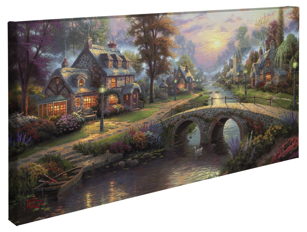 sunset on lamplight lane 16 x 31 gallery wrapped canvas thomas
