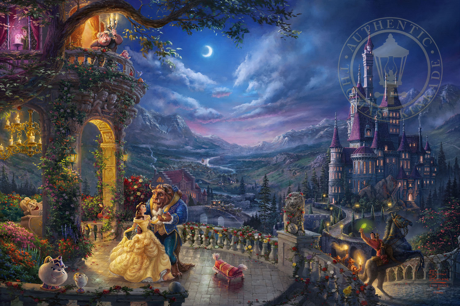 Art Disney: Beauty And The Beast Dancing In The Moonlight