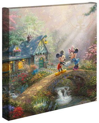"Mickey & Minnie Sweetheart Bridge - 14"" x 14"" Gallery Wrapped Canvas"
