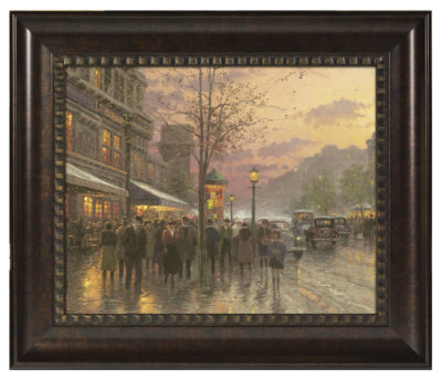 "Boulevard Lights, Paris - 16"" x 20"" Brushstroke Vignette (Rich Burl Frame)"