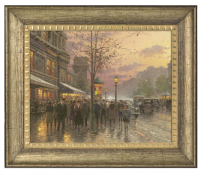"Boulevard Lights, Paris - 16"" x 20"" Brushstroke Vignette (Burnished Gold Frame)"