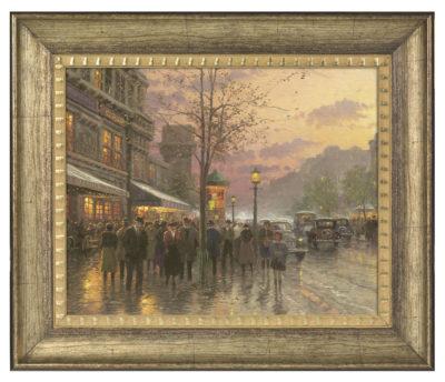 """Boulevard Lights, Paris - 16"""" x 20"""" Brushstroke Vignette (Burnished Gold Frame)"""
