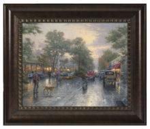 """Carmel, Sunset on Ocean Avenue - 16"""" x 20"""" Brushstroke Vignette (Rich Burl Frame)"""