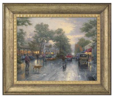 """Carmel, Sunset on Ocean Avenue - 16"""" x 20"""" Brushstroke Vignette (Burnished Gold Frame)"""