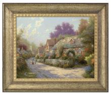 "Cobblestone Village - 16"" x 20"" Brushstroke Vignette (Burnished Gold Frame)"