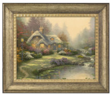 "Everett's Cottage - 16"" x 20"" Brushstroke Vignette (Burnished Gold Frame)"