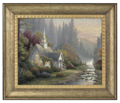 "Forest Chapel - 16"" x 20"" Brushstroke Vignette (Burnished Gold Frame)"