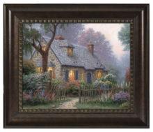 "Foxglove Cottage - 16"" x 20"" Brushstroke Vignette (Rich Burl Frame)"