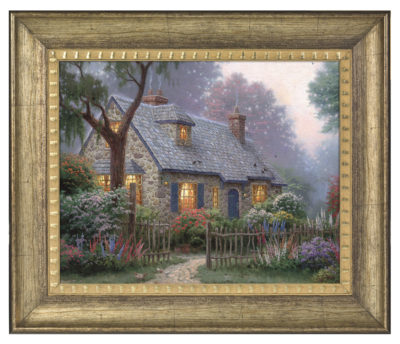 "Foxglove Cottage - 16"" x 20"" Brushstroke Vignette (Burnished Gold Frame)"