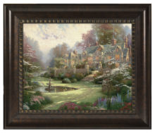 "Gardens Beyond Spring Gate - 16"" x 20"" Brushstroke Vignette (Rich Burl Frame)"