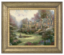 """Gardens Beyond Spring Gate - 16"""" x 20"""" Brushstroke Vignette (Burnished Gold Frame)"""