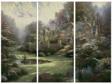 "Gardens Beyond Spring Gate - 36"" x 16"" (Set of 3 Panels) Triptych Giclee Canvas (Set of Three)"