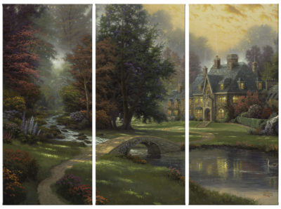 """Lakeside Manor - 36"""" x 16"""" (Set of 3 Panels) Triptych Giclee Canvas (Set of Three)"""