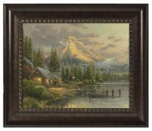 "Lakeside Hideaway - 16"" x 20"" Brushstroke Vignette (Rich Burl Frame)"