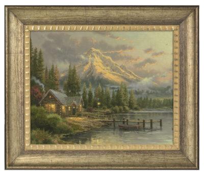 "Lakeside Hideaway - 16"" x 20"" Brushstroke Vignette (Burnished Gold Frame)"