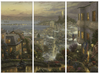 "San Francisco, Lombard Street - 36"" x 16"" (Set of 3 Panels) Triptych Giclee Canvas (Set of Three)"