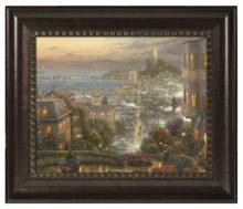 "San Francisco, Lombard Street - 16"" x 20"" Brushstroke Vignette (Rich Burl Frame)"