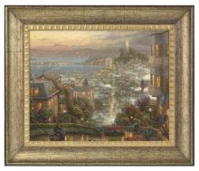 """San Francisco, Lombard Street - 16"""" x 20"""" Brushstroke Vignette (Burnished Gold Frame)"""