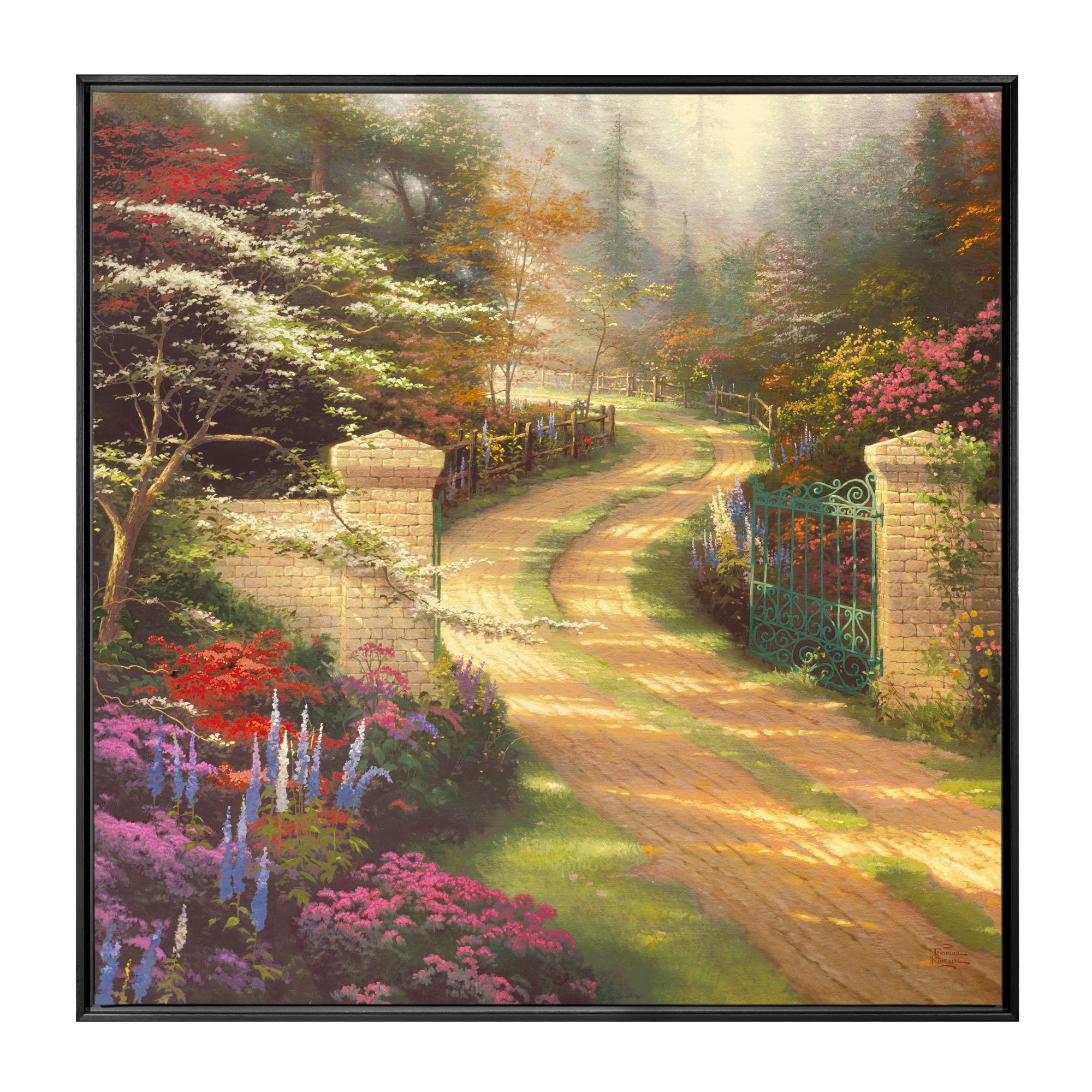 Spring Gate 36 x 36 Framed Canvas Wall Murals Thomas Kinkade