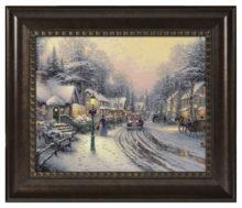 """Village Christmas - 16"""" x 20"""" Brushstroke Vignette (Rich Burl Frame)"""