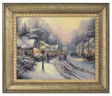 """Village Christmas - 16"""" x 20"""" Brushstroke Vignette (Burnished Gold Frame)"""