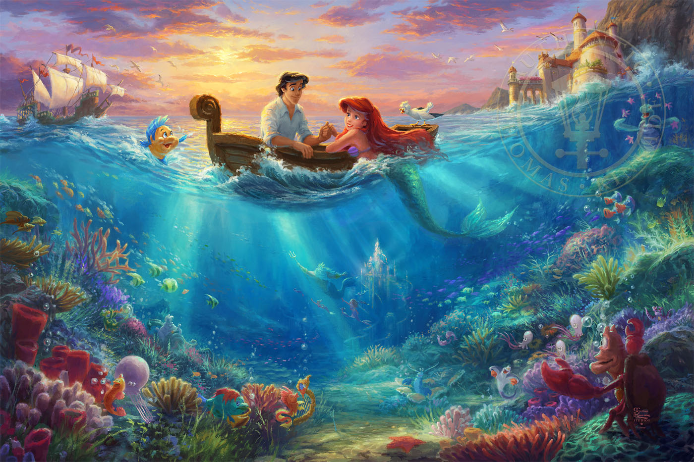 little mermaid falling in love the limited edition art thomas kinkade galleries of new york. Black Bedroom Furniture Sets. Home Design Ideas