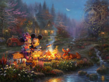 Mickey and Minnie Sweetheart Campfire - Limited Edition Art