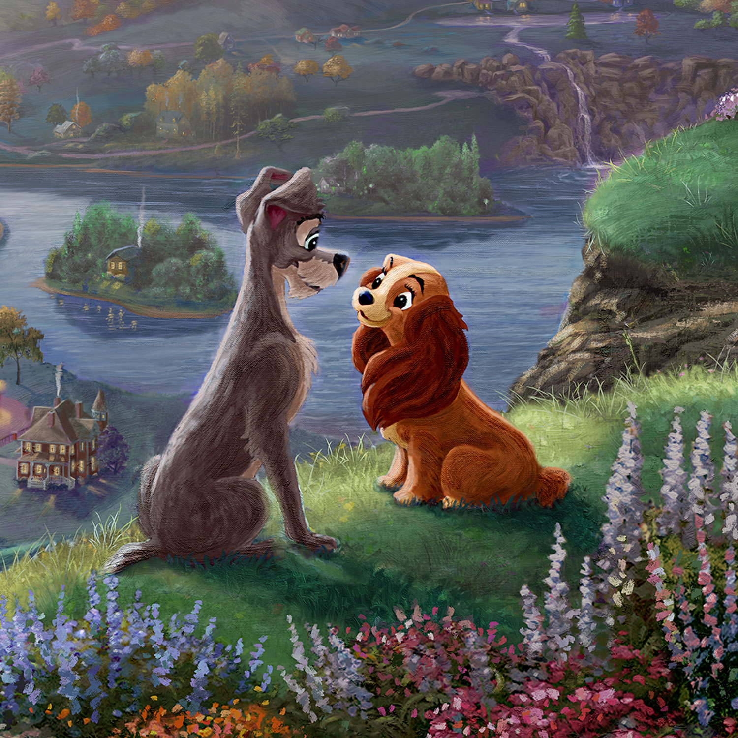 Disney Lady And The Tramp Falling In Love Limited Edition Canvas Thomas Kinkade Galleries Of New York New Jersey Connecticut