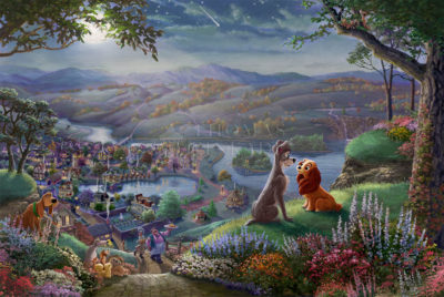 Disney Lady and the Tramp Falling in Love - Limited Edition Canvas